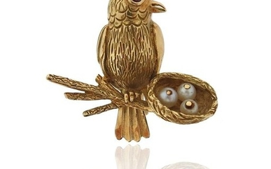 A French gold bird brooch, the bird set...