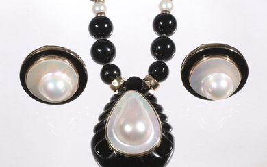 (2 PC) MAZ ONYX & MABE PEARL JEWELRY SUITE