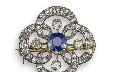 A Victorian sapphire and diamond quatrefoil brooch…