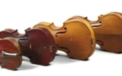 Five Child's Violins - Including two French late 19th century and three German early 20th century.