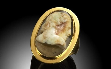 A late 18th early 19th century deeply carved agate…