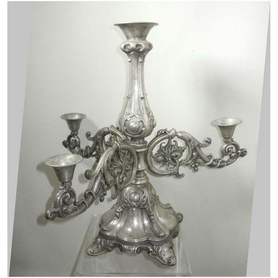 19C VICTORIAN FLORAL REPOUSSE SILVER 4 LIGHT CANDELABRA