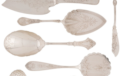 21045: Six American Silver Serving Pieces, mid-late19th