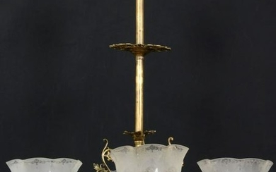 Eight Arm Brass Chandelier with Matching Shades