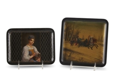 Two Russian lacquer trays Vishnyakov Factory, late 19th/ early...