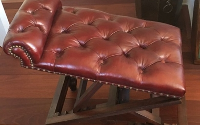 Late Victorian Mahogany & Buttoned Leather Gout Stool/Foot Stool - second half 19th century