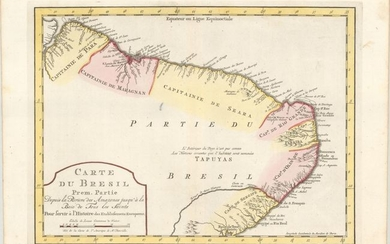 """[Lot of 3] Carte du Bresil Prem. Partie Depuis la Riviere des Amazones… [with] Suite du Bresil... [and] Suite du Bresil, Depuis la Baie de Tous les Saints Jusqu'a St. Paul…"", Bellin, Jacques Nicolas"