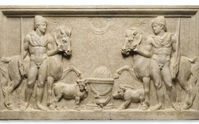 A ROMAN MARBLE RELIEF WITH THE DIOSCURI, HADRIANIC PERIOD, CIRCA EARLY 2ND CENTURY A.D.
