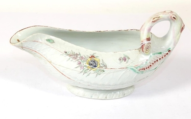 A Worcester Porcelain Cos Lettuce Leaf Sauceboat, circa 1755, painted...