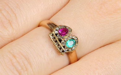A 19th century ruby, emerald and rose-cut diamond crowned twin hearts ring.