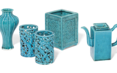 A COLLECTION OF FIVE CHINESE TURQUOISE-GLAZED VESSELS, KANGXI PERIOD (1662-1722)