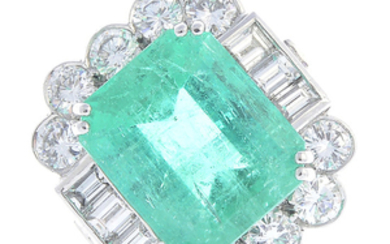 A Colombian emerald and diamond ring.