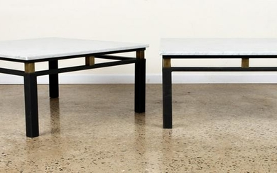PAIR IRON BRASS MARBLE TOP COFFEE TABLES C.1975