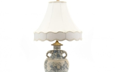 A Japanese Blue and White Vase Lamp
