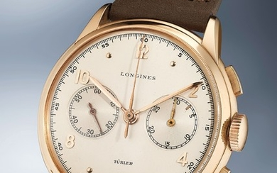 Longines, Ref. 5646 An extremely rare, large and elegant pink gold chronograph wristwatch