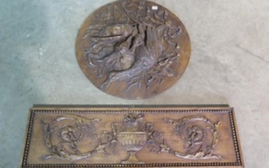 Two decorative wall plaques - 104cm x 30cm and 67cm diameter