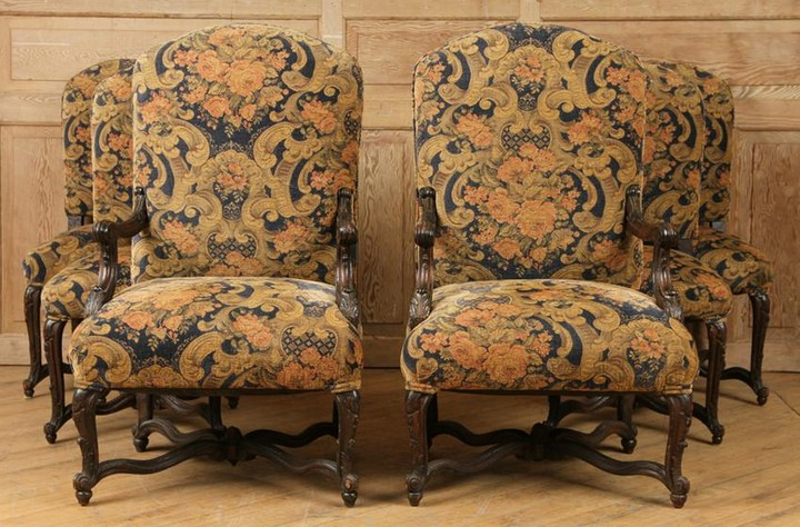 6 UPHOLSTERED & CARVED DINING ROOM CHAIRS BY ROMA