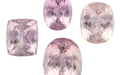 Unmounted Kunzite The lot includes an oval-shaped kunzite measuring...