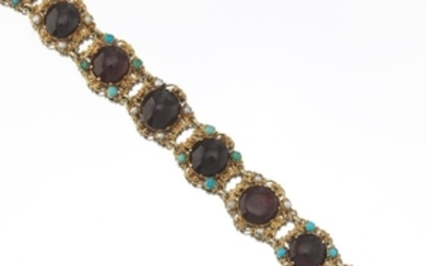 Ladies' Victorian Gold, Garnet, Seed Pearl and Turquoise Bracelet