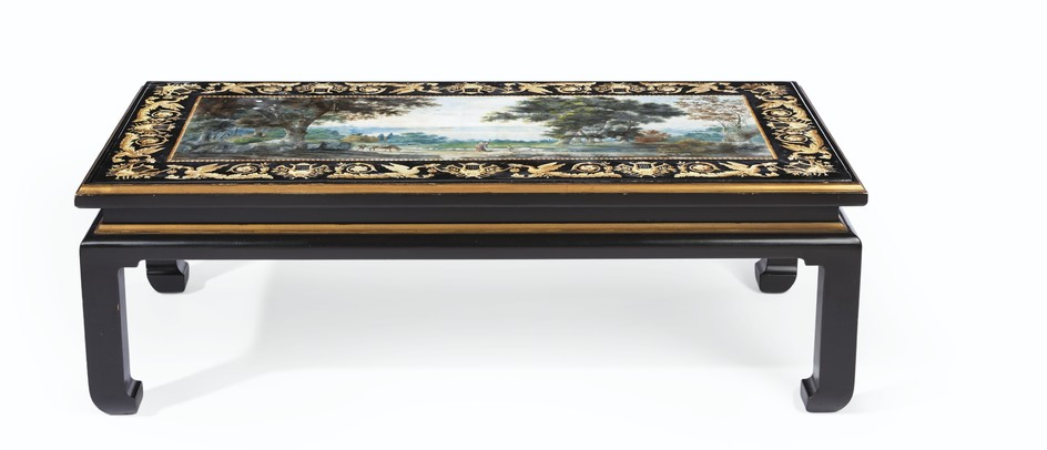 AN ITALIAN POLYCHROME-DECORATED SCAGLIOLA TABLE TOP, SECOND QUARTER 19TH CENTURY