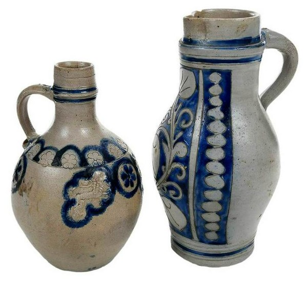 Westerwald Cobalt Decorated Bottle and Pitcher