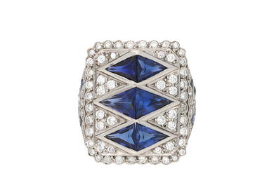 Diamonds and sapphires ring.