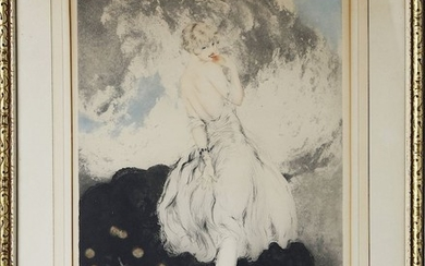 """Louis Icart (French 1888-1950) Drypoint Etching """"Forbidden Fruit"""" #76"""
