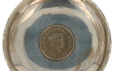 Coin bowl with Brunei coin Sultan Bolkiah Hassanal silver.