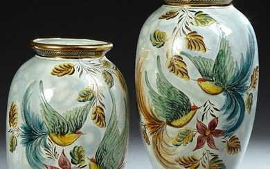 Pair of Large Belgian Baluster Ceramic Vases, by H.