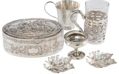 21046: Six Silver Silver-Plated Table Articles, 19th-ea