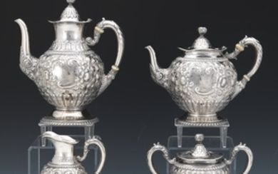 Antique Gorham Sterling Silver Four-Piece Tea/Coffee Armorial Service, dated 1890