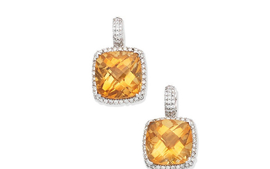 A pair of citrine and diamond earrings