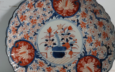 "MEIJI PERIOD IMARI SCALLOPED SHAPE 13.5"" CHARGER"