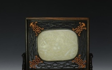 Carved White Jade Plaque in Frame 19th Century