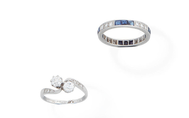 A diamond crossover ring, and a sapphire and diamond eternity ring