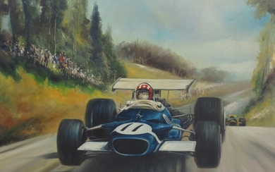 Dion Pears (British 1929-1985), 'Jo Siffert - Lotus 49 - German Grand Prix 1969',