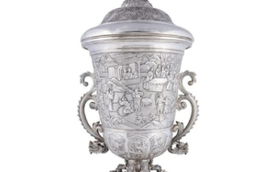 A large Chinese Export silver trophy cup and cover...
