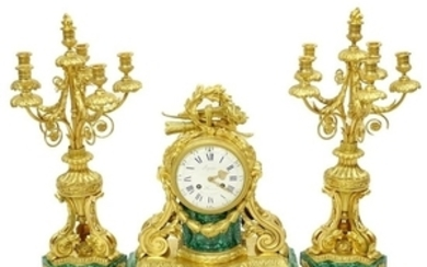 Louis Philippe Clock Garniture