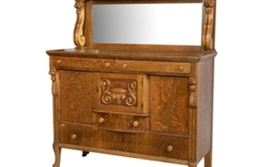 Oak Sideboard with Mirror - Carved Lions