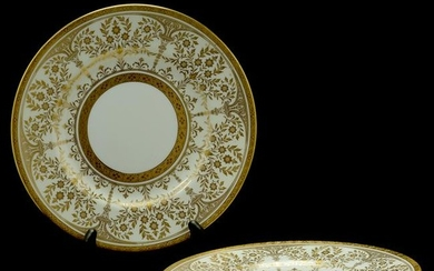 Set of Twelve Minton Gold and White Porcelain Dinner