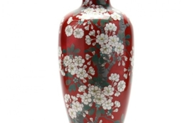 A Tall Japanese Cloisonne Vase with Cherry Blossoms