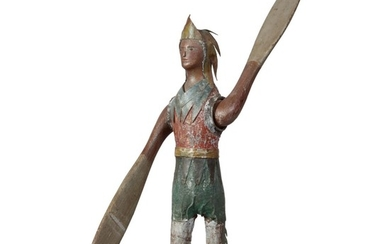 VERY FINE AND RARE AMERICAN CARVED AND PAINTED WOOD INDIAN CHIEF WHIRLIGIG, LATE 19TH CENTURY