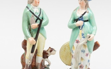 Pair of Staffordshire Pearlware Figures of a Hunter and