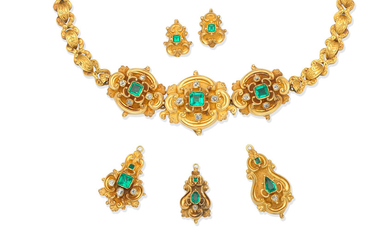 An emerald and diamond necklace, three emerald and diamond pendants, and a pair of emerald earrings, first half of the 19th century