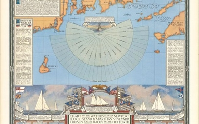 """Map Promoting the 1934 America's Cup Race, """"Chart of the Waters Between Newport Block Island & Marthas Vineyard Chosen for the Races of the Fifteenth International Challenge for the America's Cup..."""""""