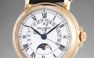 "Patek Philippe, Ref. 5059 An attractive and rare pink gold perpetual calendar wristwatch with retrograde date and ""officer""-style hinged caseback with certificate of origin"