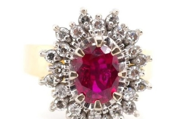 Ruby and diamond set 18ct gold cluster ring marked 18ct. App...