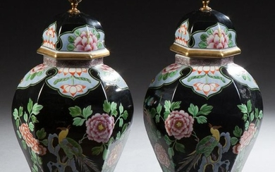 Pair of Chinese Hexagonal Porcelain Baluster Covered
