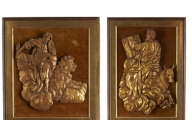 A pair of carved and gilded religious figures 19th...