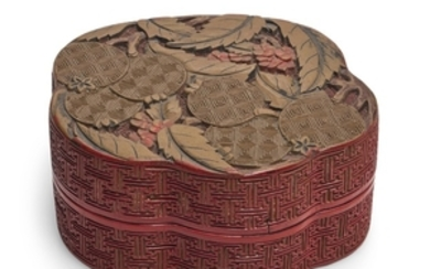 A CARVED POLYCHROME LACQUER 'LOQUAT' BOX AND COVER QING DYNASTY, QIANLONG PERIOD